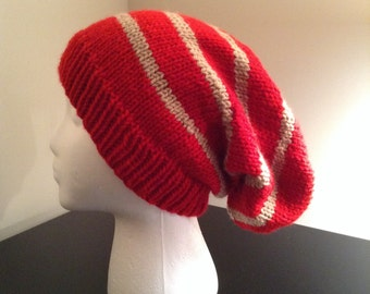 The Clifton Oversized Slouchy Beanie in Red and Tan