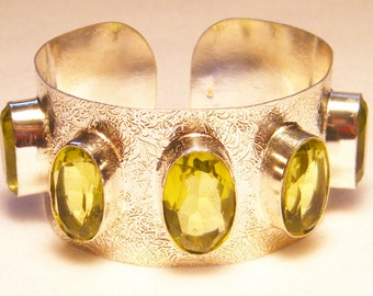 Recently Reduced Large Regal Sterling Silver Faceted Citrine Bracelet, 2.28 oz.