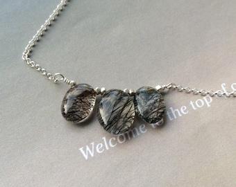 Trio Tourmalated Quartz  Necklace, Sterling Silver, Tourmalated quartz pendant necklace, natural gemstone