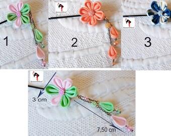 Japanese kanzashi and hanging petals flower hair clip