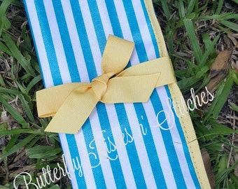 Turquoise Striped/Reversible Travel Place-mat with Chalkboard/Chalk Included/Vinyl/Wipe Clean/Folds for Travel/Great Gift Idea for Children
