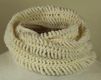 Hand Crochet Infinity Scarf   Snow White