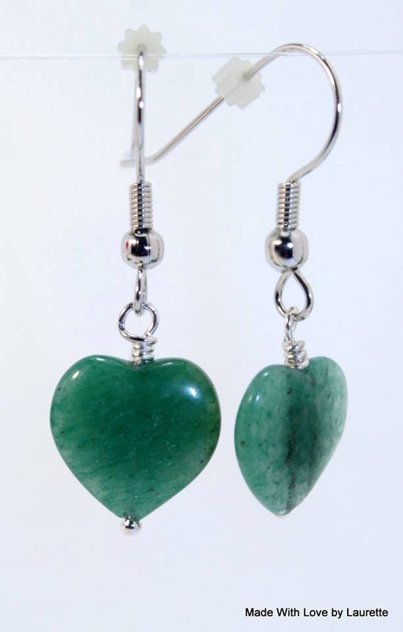 Jade heart shaped earrings fish hook hypo allergenic one for Jade fish hook necklace