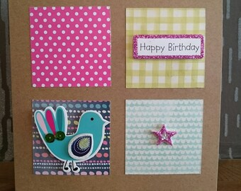 Happy Birthday - Patchwork Squares with colourful bird!