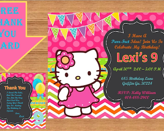 Hello Kitty Invitation, Hello Kitty Birthday, Hello Kitty Birthday Invitation, Hello Kitty Invite, Hello Kitty Party # Hello Kitty 00013