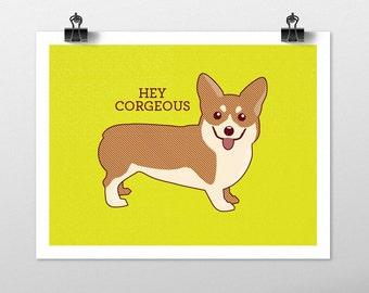 Corgi Dog Art Print - Dog Prints Series. corgi drawing, dog breeds, corgi art, green art, dog lover gift, corgi wall decor