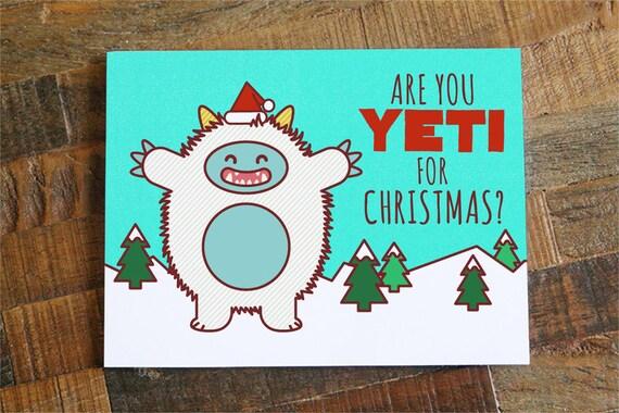 ... yeti, funny holiday card, xmas cards, greeting card, happy holidays