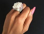 Quartz stone amethyst silver ring, Quartz ring, amethyst ring
