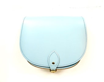 Baby Blue Leather Saddle Bag - Handmade in UK - Pastel Blue Bag - Shoulderbag - Saddle Bag - Gift for Her - Blue Modern Retro - Blue Purse