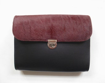 Large Crossbody Bag with Burgundy Cowhide - Handmade in UK - Clutch Bag