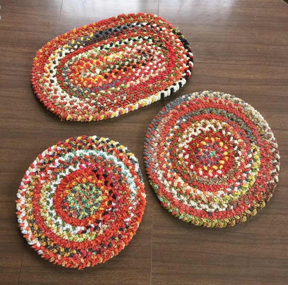 Mini Braided Rag Rugs Vintage Set Of 3 Round And Oval Tabletop