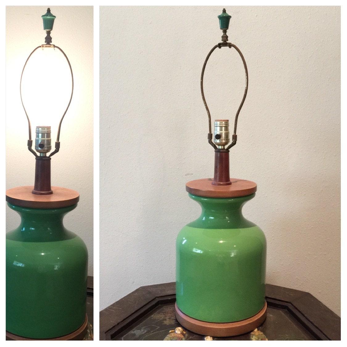 Mid Century Table Lamp Green Ceramic by RetroResaleSanDiego