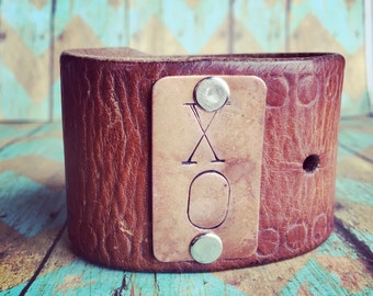 "The ""XO"" Handstamped  leather cuff"