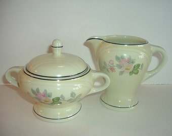 Hall Floral Pattern Creamer and Sugar