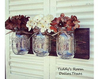 Mason Jar Wall Decor , Farmhouse Decor , Country Decor , Rustic Decor , Housewarming gift , Wall Hanging Sconce , Bathroom storage , Storage