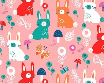 Dashwood Studio Secret Garden Bunnies Pink (Half metre)