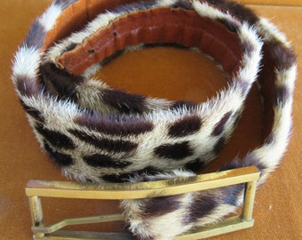 Spotted Fur Belt Size 30""