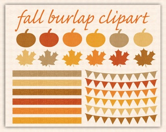 """Fall Clip Art, """"AUTUMN BURLAP CLIPART"""" with Pumpkins, Leaves, Borders, Banners"""