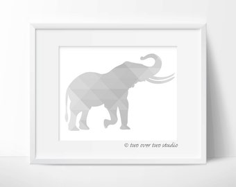 Gray Elephant Print, Triangle Geometric Wall Art,  Safari Nursery, Playroom Decor