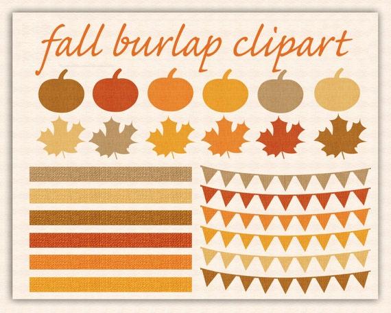 Fall Clip Art AUTUMN BURLAP CLIPART with