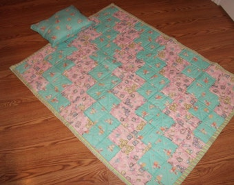 Handmade Baby Quilt with matching pillow