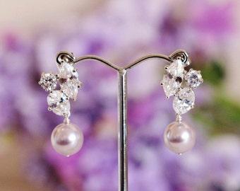 Lavender Purple Pearl Earrings Lavender Wedding Bridesmaid Gift Earrings Swarovski Pearl Bridal Earrings Purple Wedding Jewelry