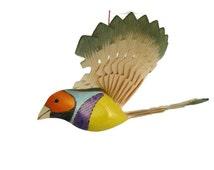 Hand Carved Bird, Woodland Mobile Gouldian Finch Wood Carving, Kids Room Nursery Decor, Fan Bird Folk Art, Hanging Mobile Bird Woodworking
