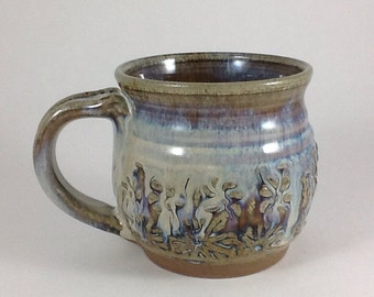 Stoneware Mug, Handmade Mug, Ceramic Textured Mug, Stoneware Coffee Mug, 14 ounce Cup