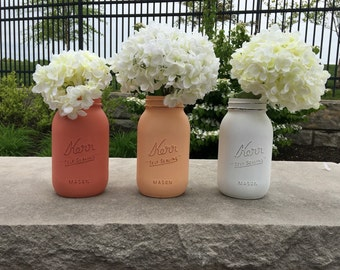 Coral ombre mason jars, painted mason jars, wedding decor, baby shower decor, wedding baby shower decor, mason jar decor, spring wedding