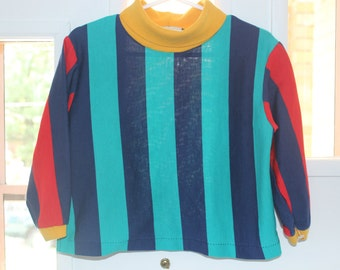 Striped turtleneck l80s ong sleeve 3t red, blue, yellow, green