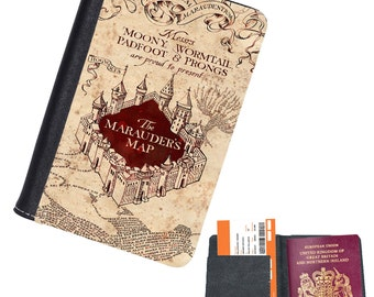 Marauders Map Harry Potter Faux Leather Passport Holder Passport Case
