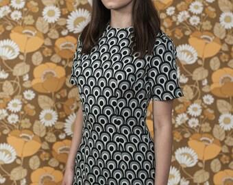 Rasha Swais 1960s Mod Monochrome Print mini Dress.