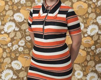 Rasha Swais 1960s/70s Striped Jersey Beagel Collar zip front Dress.