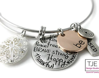 "Diffuser Bracelet for Essential Oils- ""Be Happy""- Diffuser Bracelet-Free Shipping, Gift"