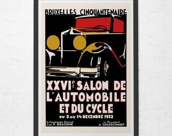 1932 CAR SHOW Poster - Art Deco Car Poster - Vintage Car Poster, High Quality Reproduction, Antique Car Poster, Classic Car Wall Art