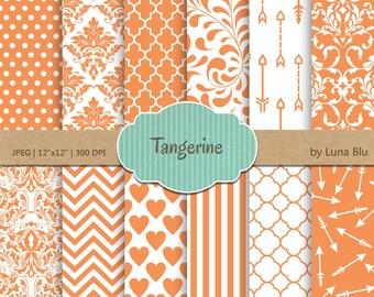 "Tangerine Digital Paper: ""Tangerine Patterns "" Pantone Spring Colors 2015, tangerine scrapbook papers, for invitations, cardmaking, crafts"