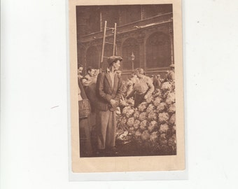 Scarce Paris France-Small Occupation Vendor Of Cauliflower At Market Les Halles-Antique Postcard C 1920