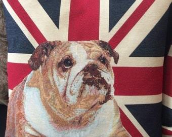 Handmade Union Jack British Bulldog Decorative Cushion Cover - Union Jack Cushion Cover - British Bulldog Cushion Cover