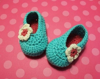 Blue Flower Crochet Baby Shoes