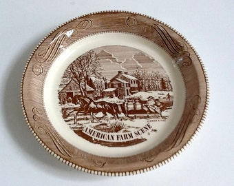 "Jeanette Currier & Ives Pie Plate, American Farm Scene, Mid Century 10"" Pie Plate, County Kitchen"