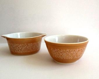 Pyrex Woodland Bowls, Set of 2, #474 Casserole & #402 Mixing Bowl, Retro Kitchen