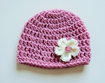 Handmade Crochet Baby Hat in Pale Rose with cream Flower & pink crystal button, Photo Prop, Baby Girl Hat, Made to order,