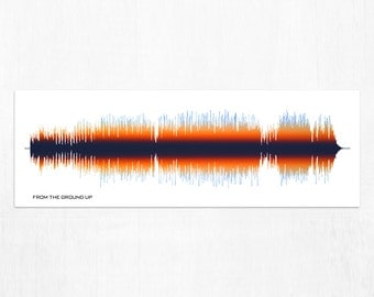 From The Ground Up - Sound Wave Canvas Wall Art Design. Made from entire song recording.