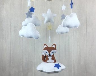 Baby mobile - fox mobile- cloud baby collection - cloud mobile - star mobile - nursery decor