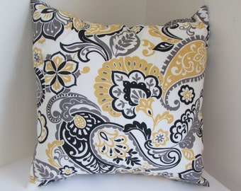 Large Paisley Print With Yellow, Gray And Black,Yellow And Black Accent Pillow Cover