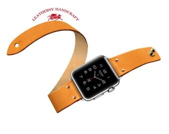Double tour Apple watch Strap, Original color Vegetable tanned leather watch strap bracelet in Minimalist & Zen style