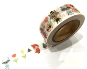 Japanese Washi Tape, Fairy Tale Little Red Riding Hood & Wolf, 10 METRES