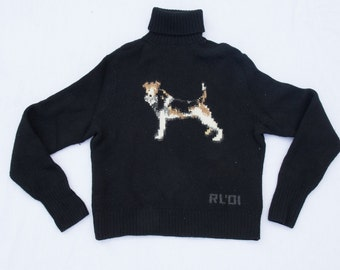 Vintage/Rare Polo Ralph Lauren Terrier Turtleneck (Lambswool) [ Hand Knit ]