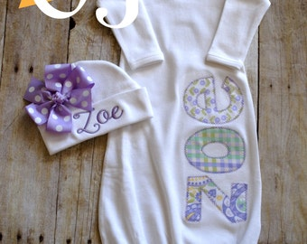 Personalized Baby Girl Embroidered Liliac Purple and Mint Green and Hat - Newborn Hospital Set - Infant Gown - Newborn Hat with Bow - Girl