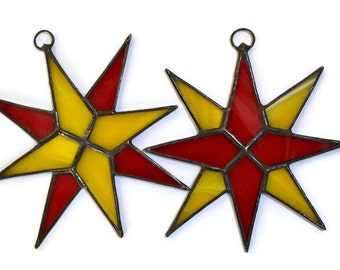 Christmas Stars Set of 2, Stained Glass Star Ornaments, Christmas Tree Decorations, Star Suncatchers, Window Decoration in red and yellow